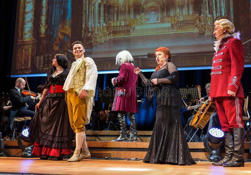 Spectacle featuring Filharmonia Futura and M. Walewska - Opera Is Life,. CRACOW, POLAND - FEB 27, 2016: Spectacle featuring Filharmonia Futura and M. Walewska stock photography