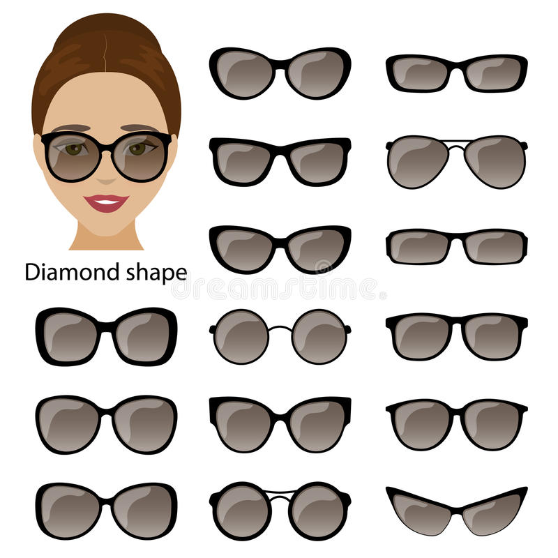 Spectacle Frames And Diamond Face Stock Vector - Illustration of ...