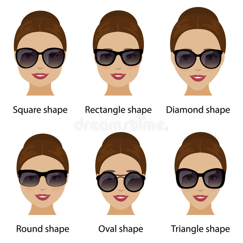 Spectacle Frames And Women Face Shapes Stock Vector - Illustration ...