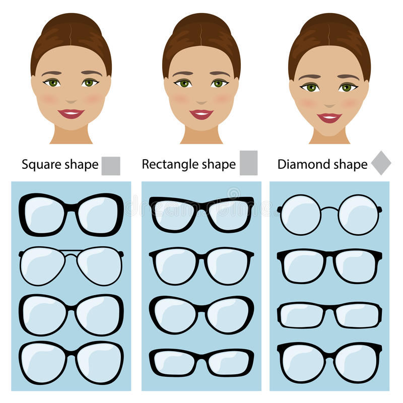 Spectacle Frames For Women Face Shapes Stock Illustration ...