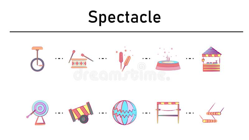 Spectacle simple concept flat icons set stock illustration