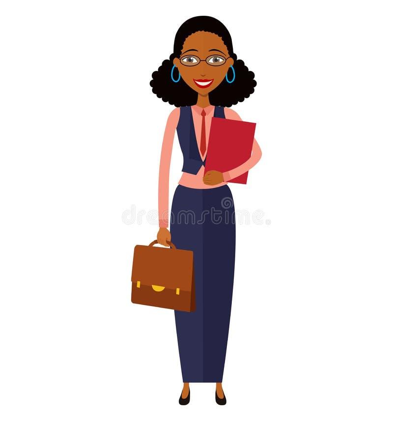 Spectacled amerykanin afrykańskiego pochodzenia biznesowej kobiety kreskówki płaski wektor ja royalty ilustracja