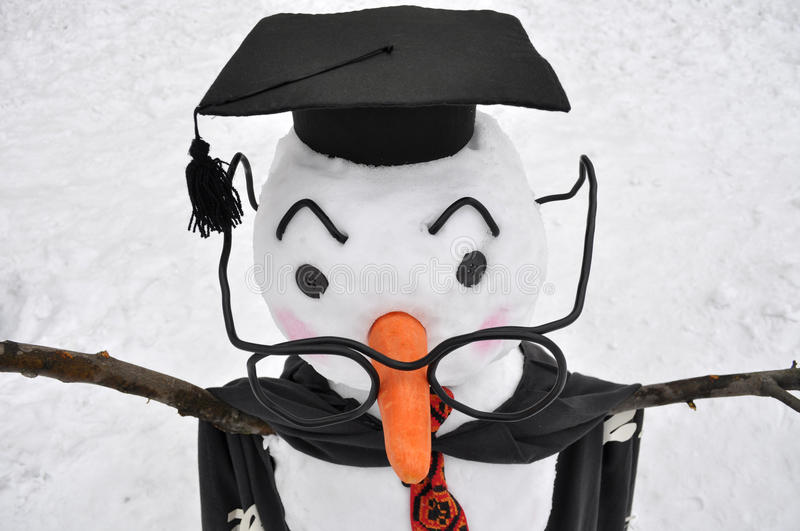 Spectacled snowman in student style. Close-up of spectacled snowman in student style stock photo