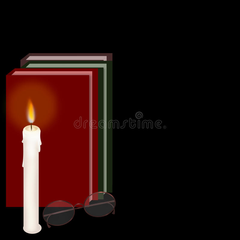 Spectacles Books and Candle