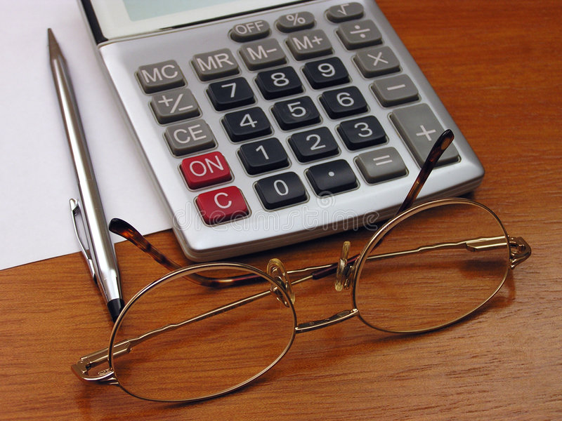 Download Spectacles and calculator stock photo. Image of pencil, financial - 12338
