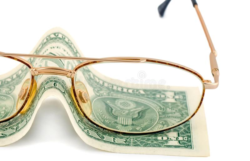 Spectacles change dollar money. Spectacles dollar success pension change money isolated on white background royalty free stock photos