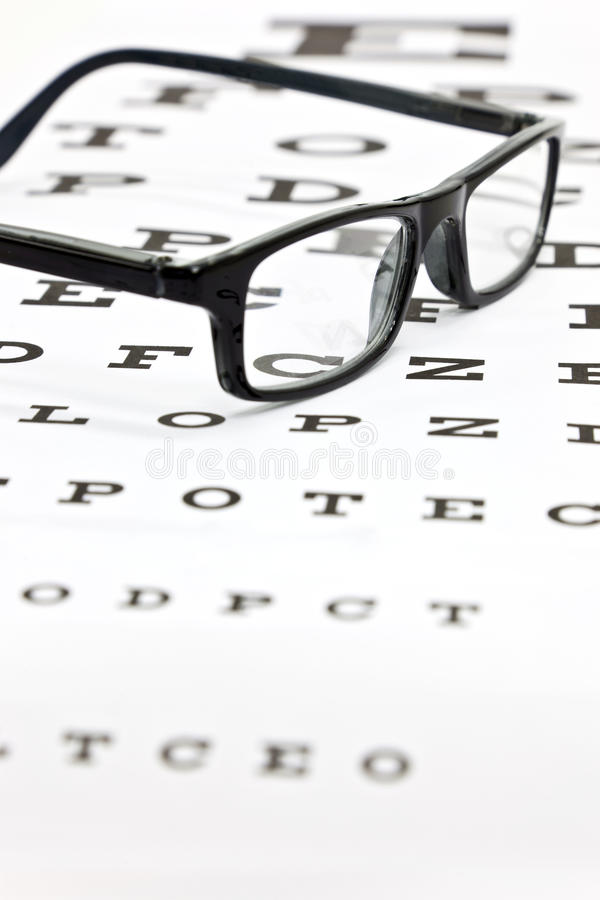 Free Spectacles On An Eye Test Chart Royalty Free Stock Images - 23731269