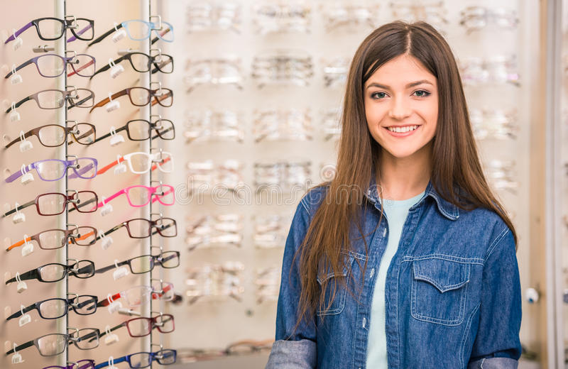 Spectactacles store royalty free stock images