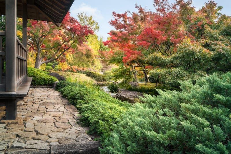 Spectaculair de herfstgebladerte bij de Chinese stijltuin in koko-Engelse Japanse Tuinen in Himeji stock fotografie