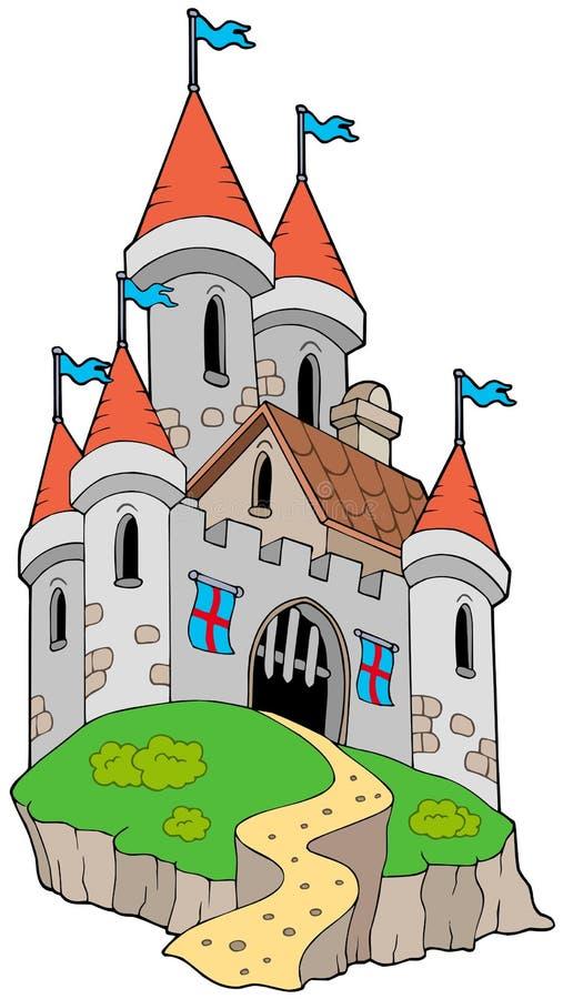 Spectaculair middeleeuws kasteel op heuvel vector illustratie