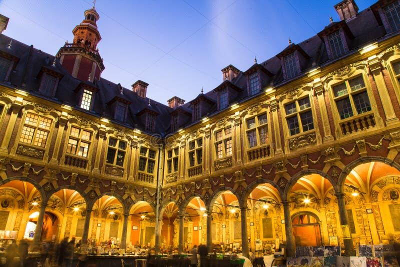 Spectaculaire Kerstmislichten in verbazende oude stad Brugge België royalty-vrije stock foto