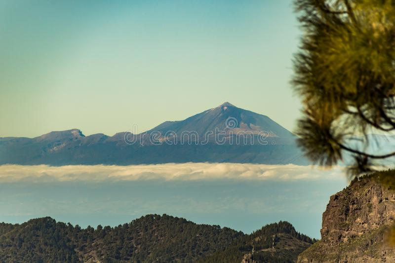 Spectaculaire mening van vulkaan Teide van Gran Canaria, Canarische Eilanden, Spanje stock foto