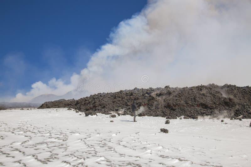 Spectaculaire Volcano Etna-uitbarsting, Sicilië, Italië royalty-vrije stock foto's