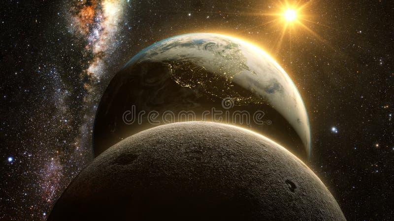Spectaculaire zonsopgangmening over Aarde en maan stock illustratie