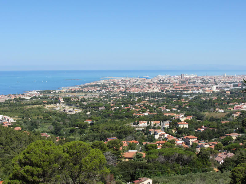Spectacular aerial panorama of Livorno city made from the nearby hills of Montenero on sunny day, Tuscany Italy royalty free stock images