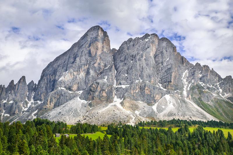 Alpine landscape with rocky mountains in Dolomites royalty free stock photo