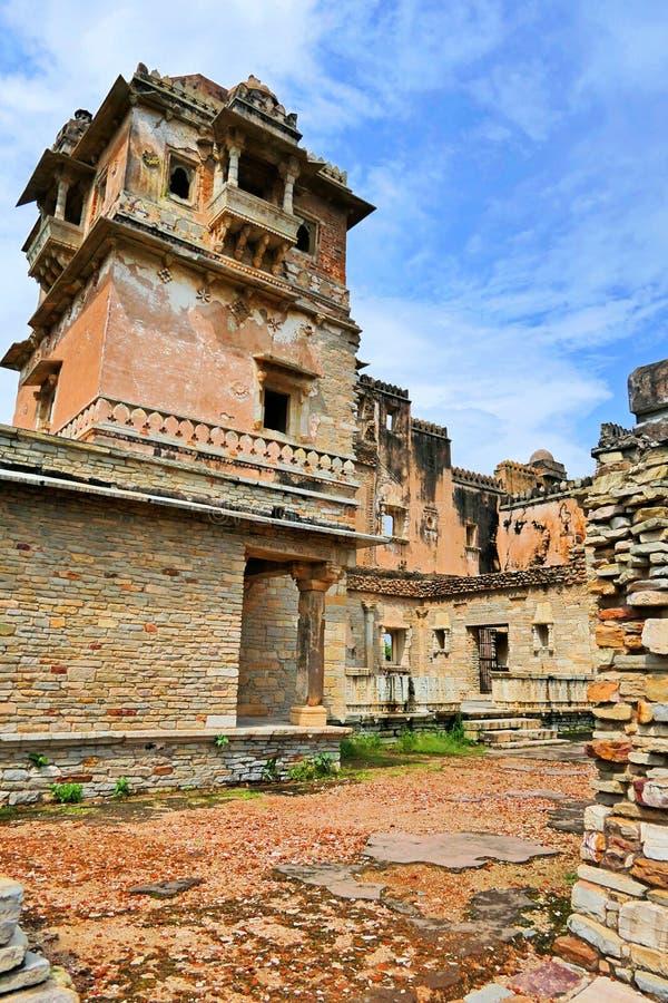 Spectacular Architectural Ancient Ruins of Khumba Palace at Chittorgarh Fort in Rajastan Region, Indien arkivbilder