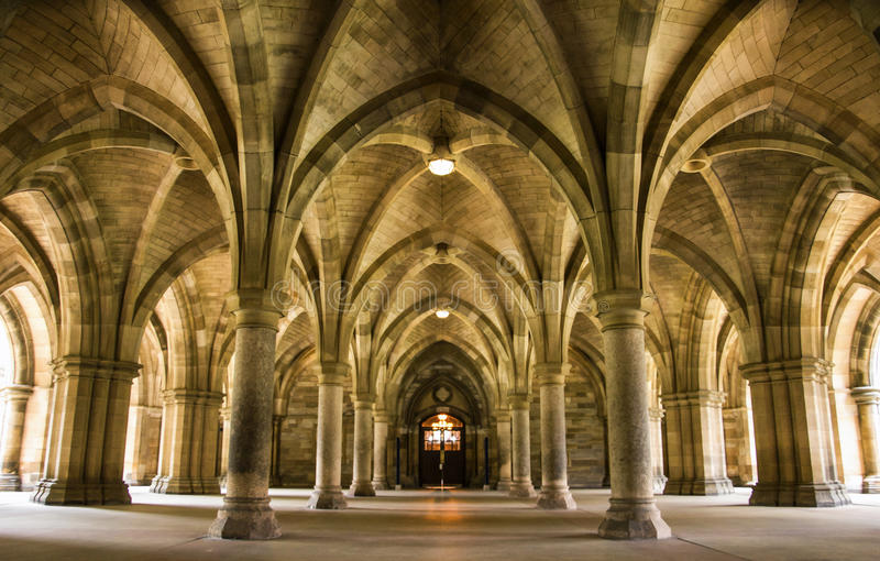 Spectacular architecture inside the University of Glasgow main building. royalty free stock photo