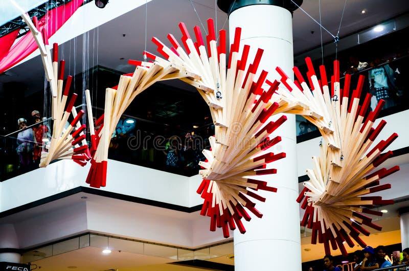 Spectacular art installation called Fortune Circle. Based on Chinese fortune sticks which symbolises harmony, balance. SYDNEY, AUSTRALIA. – On February royalty free stock photography