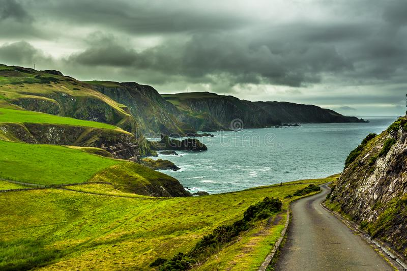 Spectacular Atlantic Coast And Cliffs At St. Abbs Head in Scotland.  royalty free stock photography