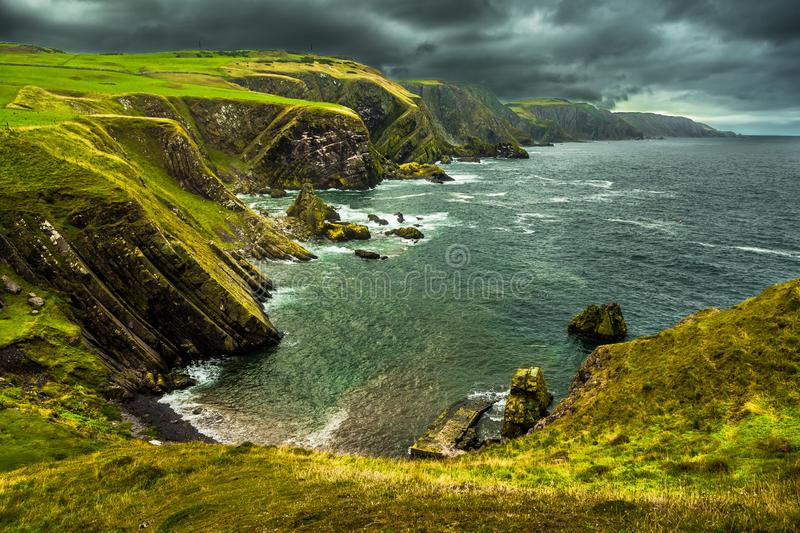 Spectacular Atlantik Coast And Cliffs At St. Abbs Head in Scotland.  royalty free stock photos
