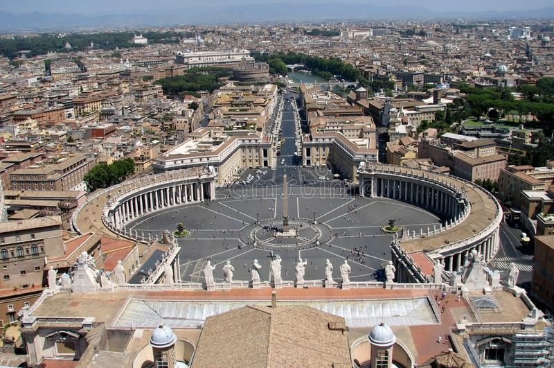 A spectacular bird`s eye view over Vatican City and Rome royalty free stock image