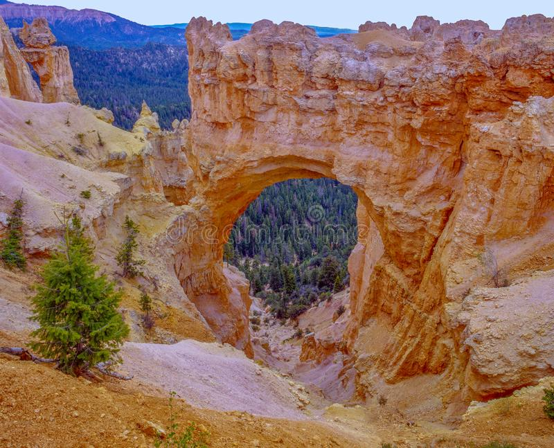 Spectacular Bryce Canyon. View of an arch in Bryce canyon with mountains in the background royalty free stock photos