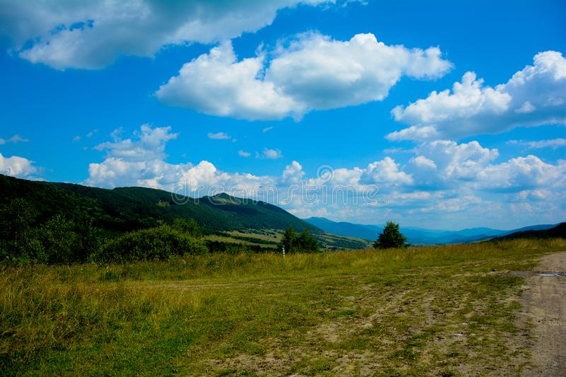 Spectacular Carpathian mountains view with blue sky in summer stock photos