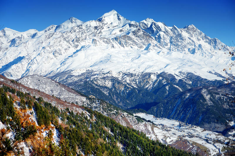 Spectacular Chalaadi Glacier, located on southern slope of the Causacus Mountains. View from Zuruldi mount in Hatsvali, Upper Svaneti region of Georgia. Late stock photography