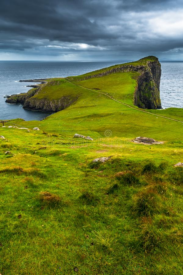 Spectacular Cliffs At Neist Point At The Coast Of The Isle Of Skye In Scotland.  stock images