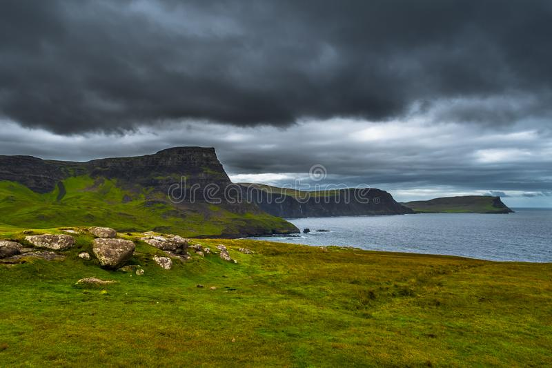 Spectacular Cliffs At Neist Point At The Coast Of The Isle Of Skye In Scotland.  stock photos