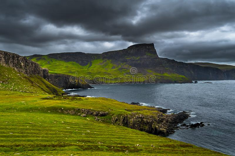 Spectacular Cliffs At Neist Point At The Coast Of The Isle Of Skye In Scotland.  royalty free stock images