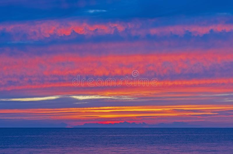 Spectacular Colors at Twilight over Lake Michigan royalty free stock photos