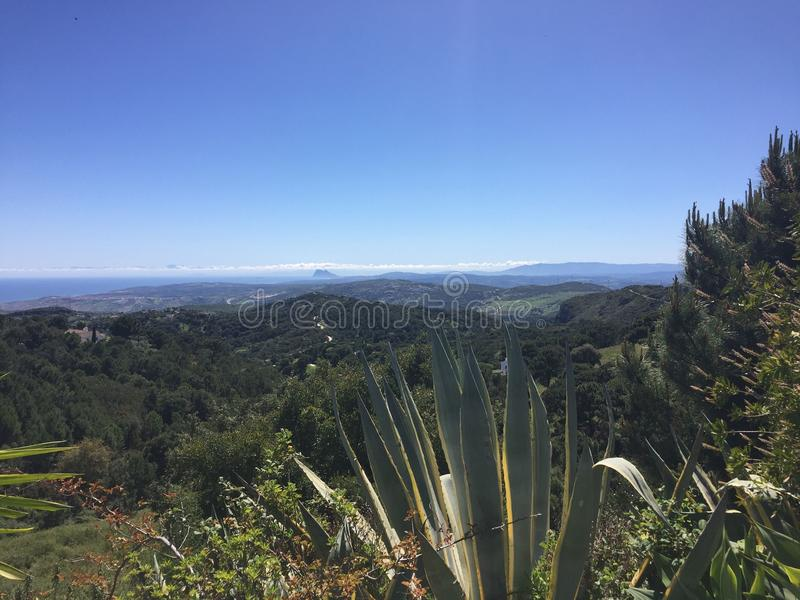 Spectacular Costa Del Sol a view to Estepona and gibraltar stock photography