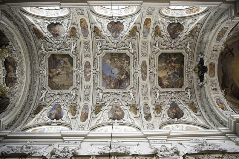 Inside Viennas spectacular churches, gold, ornate, designs and bling. Spectacular designs and artwork adorn Vienna churches and religious buildings, expensive stock photos