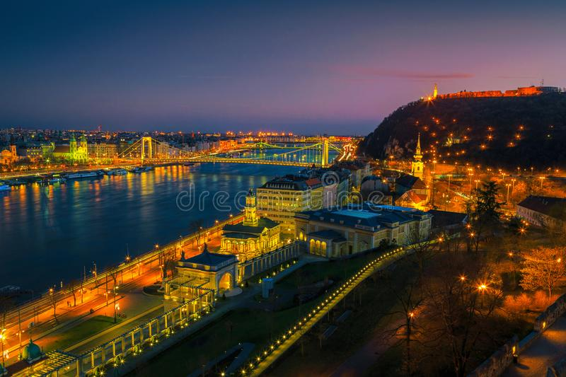 Spectacular Elisabeth bridge and Pest cityscape at evening, Budapest, Hungary. Picturesque European travel location. Beautiful evening cityscape panorama with stock images