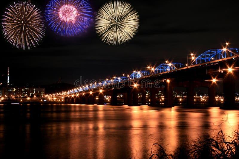 Spectacular Fireworks At Han River Stock Photos