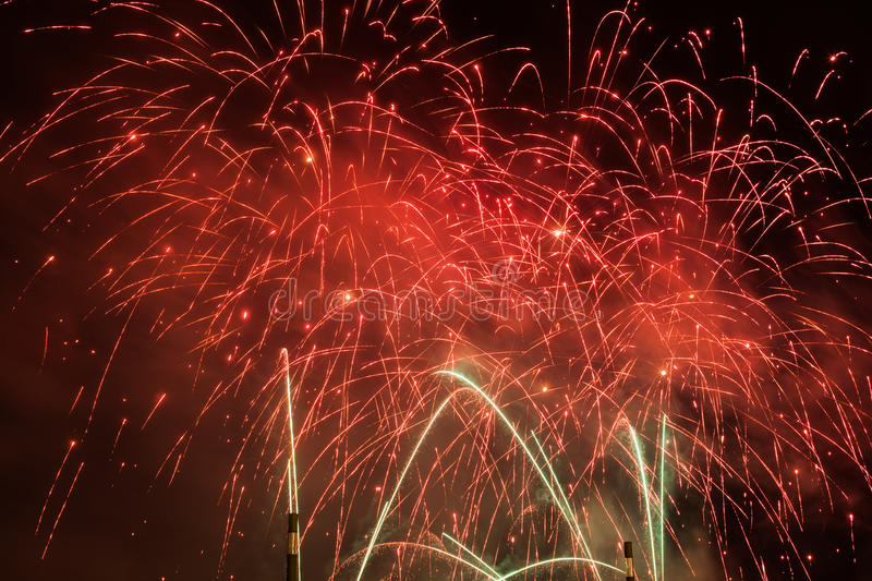 Spectacular fireworks show light up the sky. New year celebration. stock photo