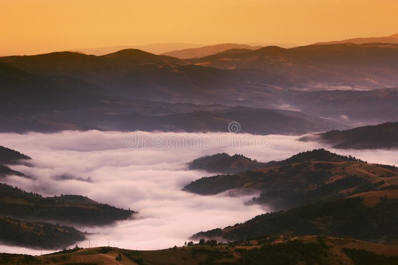Spectacular foggy dawn image, awesome autumn morning in european mountains, forest on hill on background valley in fog and first r royalty free stock photography