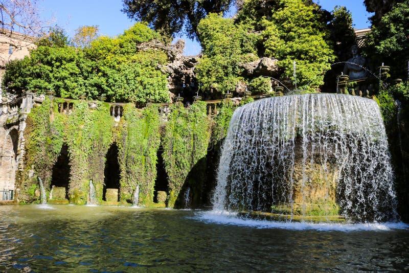 A spectacular fountain in Villa d`Este. stock photography