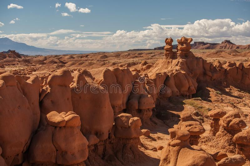 Spectacular landscapes of Goblin valley state park in Utah, USA.  royalty free stock photo