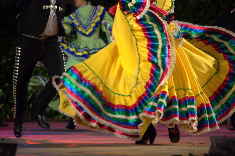 Spectacular latino dance show. Mexican folkloric dancers wearing bright opulent dress stage spectacle stock photos