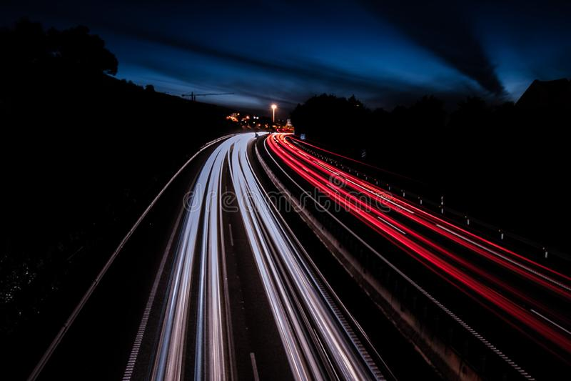 Spectacular light trails on the highway in tenerife. A spectacular light trails on the highway in tenerife stock images
