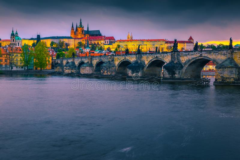 Spectacular medieval stone Charles bridge and castle Prague, Czech Republic royalty free stock photography