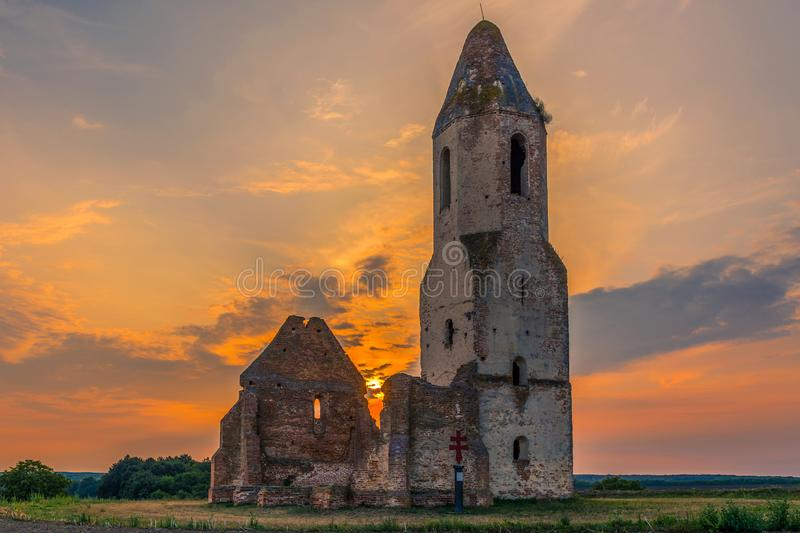 Spectacular medieval temple ruin stock image