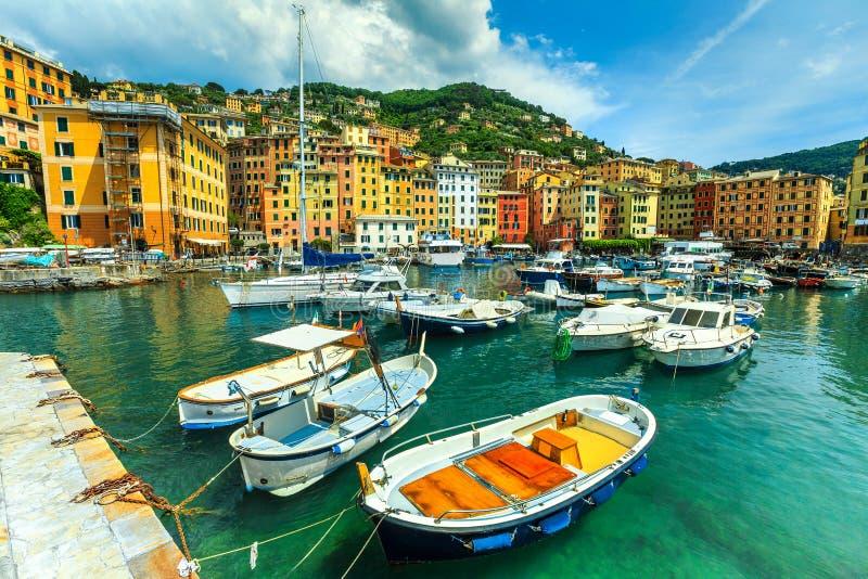Spectacular Mediterranean harbor with yachts, Camogli resort, Liguria, Italy, Europe stock image