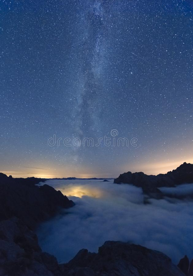 Milky way over sea of clouds in Picos de Europa spanish national park stock images
