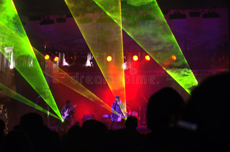 Spectacular laser show,stage and stock photos