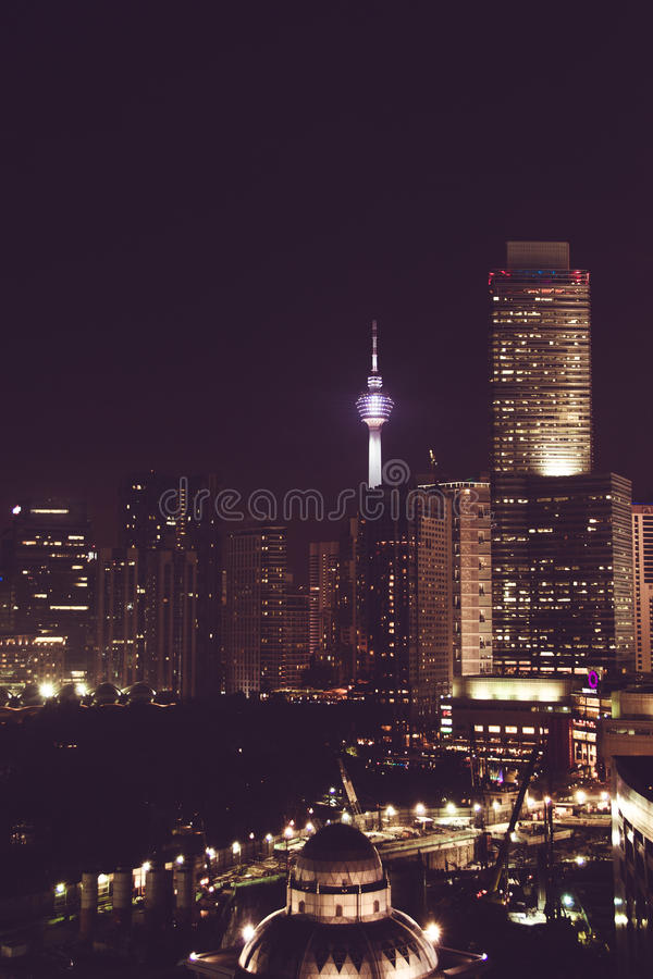 Spectacular night city view. Kuala Lumpur skyscrapers, Malaysia. Business metropolis. Modern buildings. Luxurious travel and touri. Sm. Urban cityscape stock photography