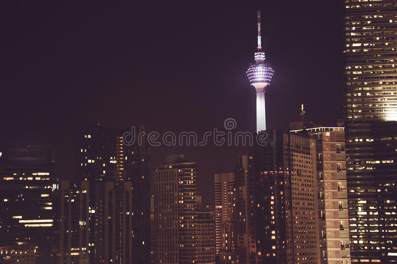 Spectacular night city view. Kuala Lumpur skyscrapers, Malaysia. Business metropolis. Modern buildings. Luxurious travel and touri. Sm. Urban cityscape royalty free stock image